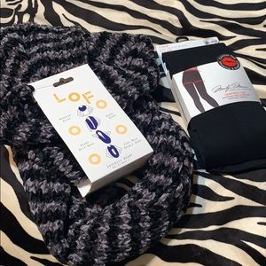 Bundle infinity scarf and 2-pk control top tights